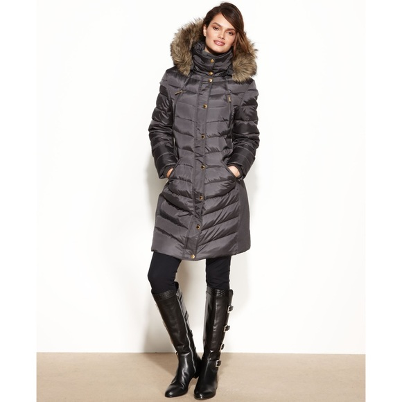 cbbba15e0da02 Michael Kors Hooded Faux Fur Trim Down Puffer Coat.  M_5a9491653b1608d124315bcb